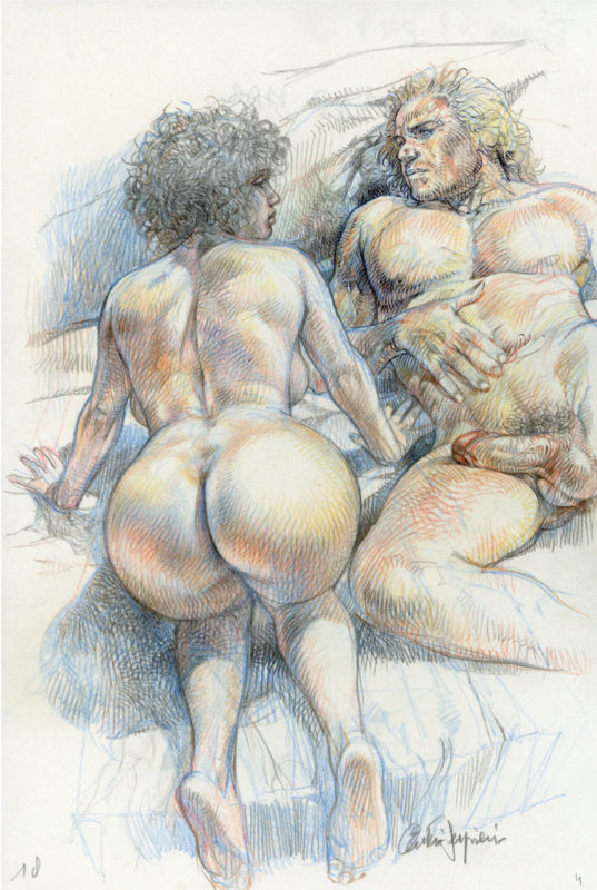 Serpieri > Druuna Illustration 14 - crayon couleur