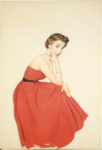Howson, Ecole américaine > Red Dress Smoking Pinup (gouache)